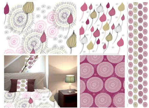 Surface pattern design circle burst design sheet room mock up.