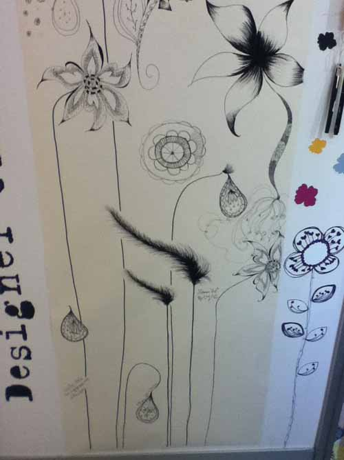Top Drawer doodle wall for charity rachael taylor and wallpapered.com