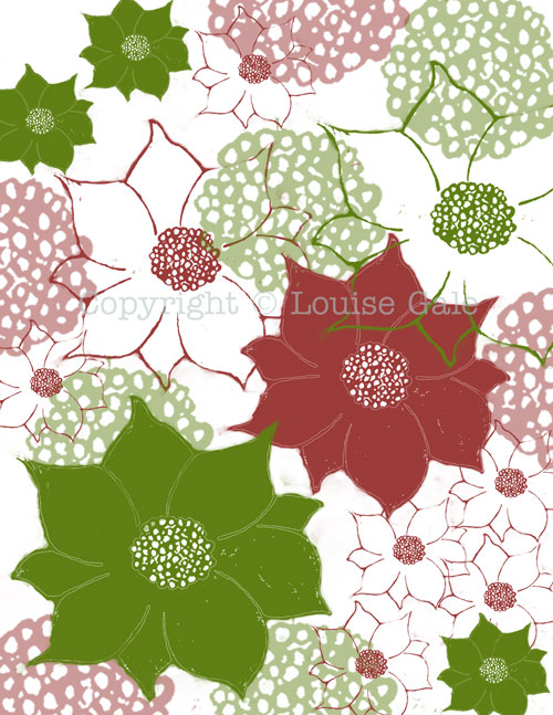 Poinsettia color challenge surface pattern design