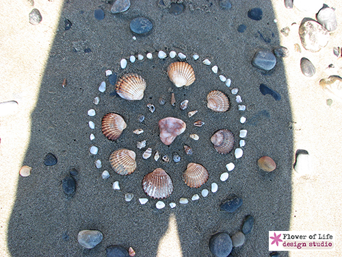 nature, mandala, feminine, shells, ocean, stones, sacred, circle