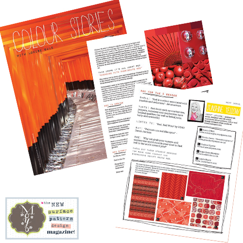 Moyo magazine - red colour stories, energy, root chakra, surface pattern design