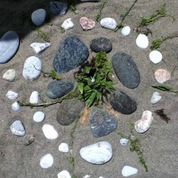 nature mandala, sacred circles, beach, stones