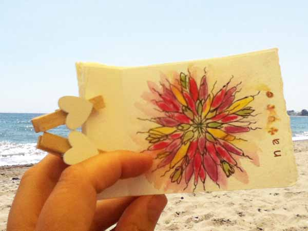 mandala, nature, beach, book, journal