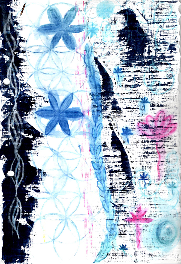 indigo painting, sacred geometry, flower of life, colour, creative color challenge