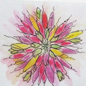 nature mandala, watercolour, watercolor, hibiscus
