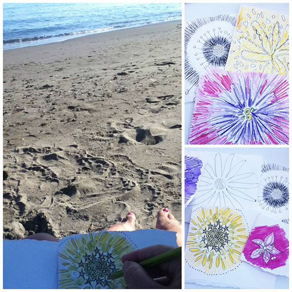 Mandala, nature, natural, nature mandala, sacred circles, sketch, handmade book, sketchbook, colour, color
