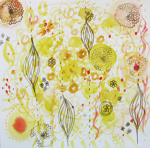 New Yellow Energy Painting Louise Gale Mixed Media