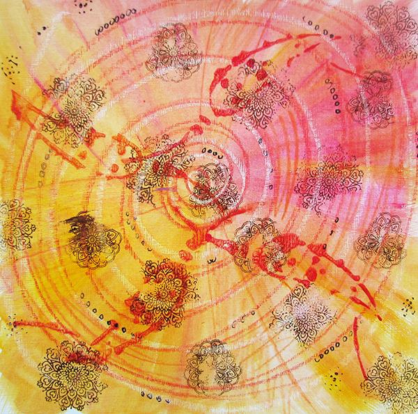 orange energy painting Louise Gale, sacral chakra, mixed media artist