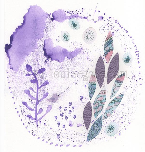violet mixed media mandala energy