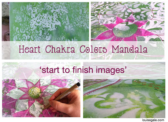 Heart Chakra Colors {Mixed Media Mandala} start to finish painting