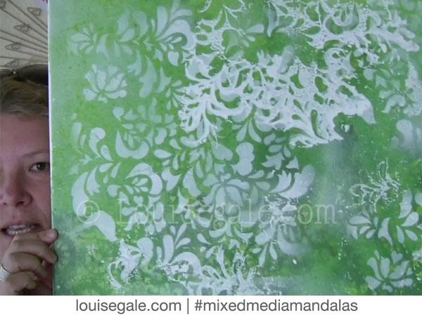 heart chakra green pink mixed media mandala