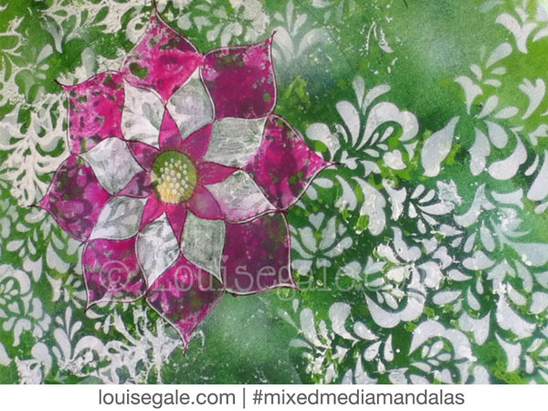 heart chakra green pink mixed media mandala