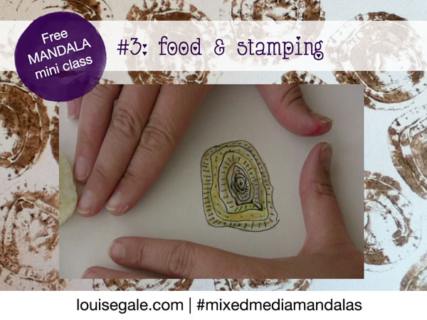 Free mandala class part 3: food and ink stamping