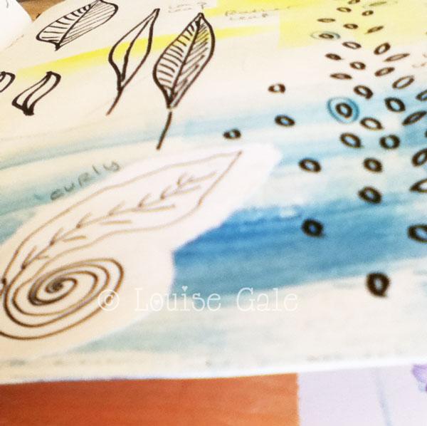 sea leaves sketchbook pages