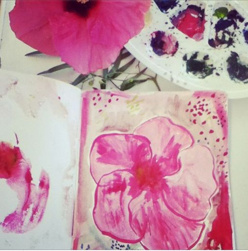 A Video and Sketchbook Sneak Peek {hibiscus}