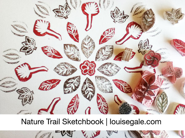 Nature Stamping nature Trail Sketchbook © Louise Gale