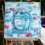 Buddha on easel in progress ©LouiseGale