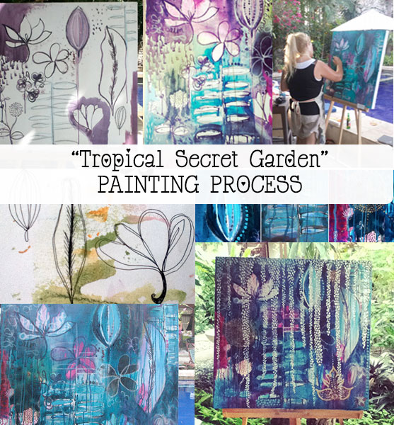 "Bali Adventure: Start to finish painting ""Tropical Secret Garden"" {Painting No1}"