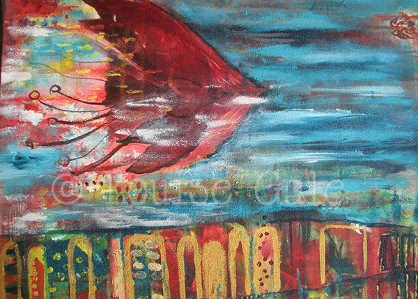 bali kite inspired painting ©Louise Gale