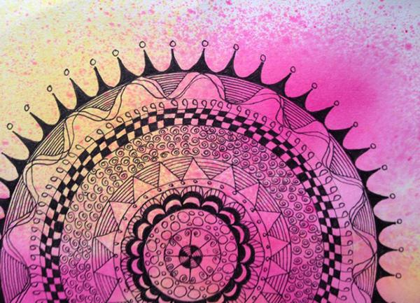 Donna Wynn Mandala black pen