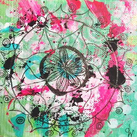 Donna Wynn Pink & Green mandala