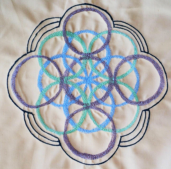 Barbara Crompton Thread-painted mandala