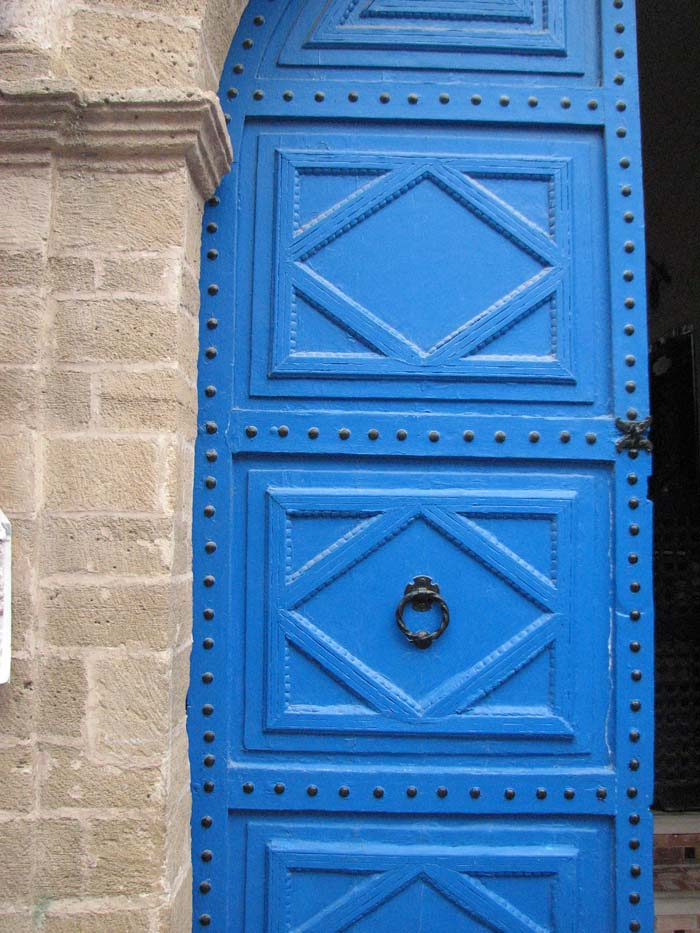 Blue panel door in Essaouria ©Louise Gale