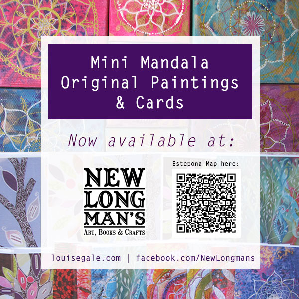 Mini Mandala Paintings and Cards available at New Longman's in Estepona