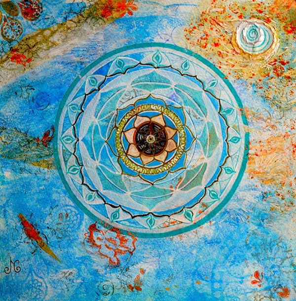 Mixed Media Mandala class Blue reflections mandala - Judith Clough