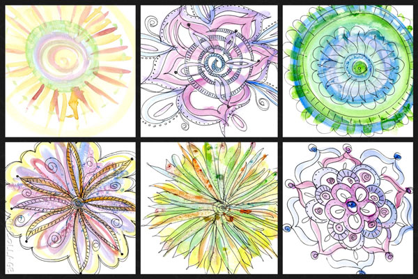 Doodles-over-Loose-Play mixed media mandala class