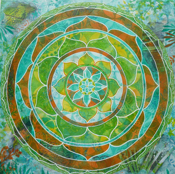 Mixed Media Mandala class Green jungle mandala - Judith Clough