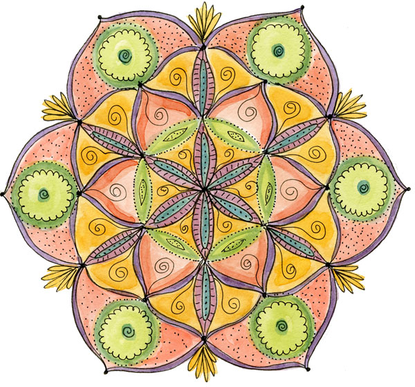 IlenePrice_Sacred-Geometry-Flower-mixed media mandala class