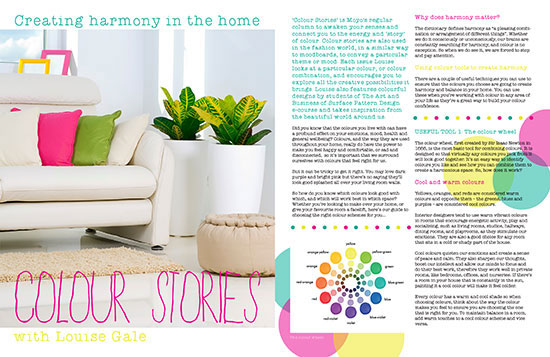Published! Harmony in your Home Color Story in MOYO Magazine