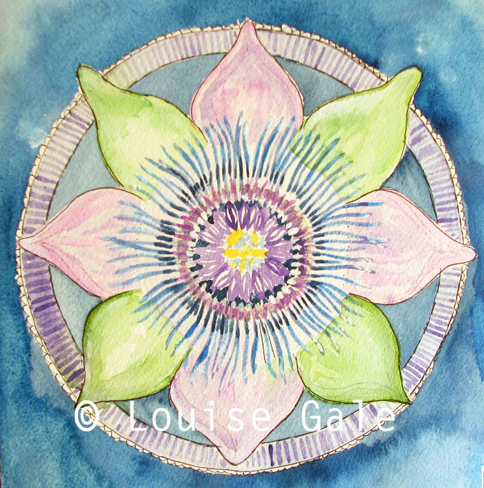 Passion flower botanical mandala by Louise Gale
