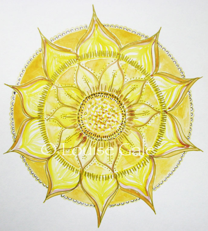 sunflower botanical mandala Louise Gale