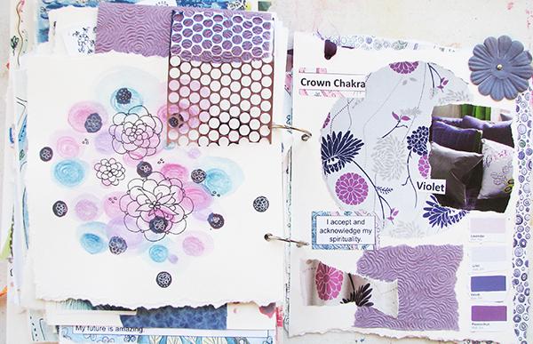 violet color journal pages