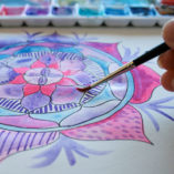 watercolor mandala draw and color expressive mandala art