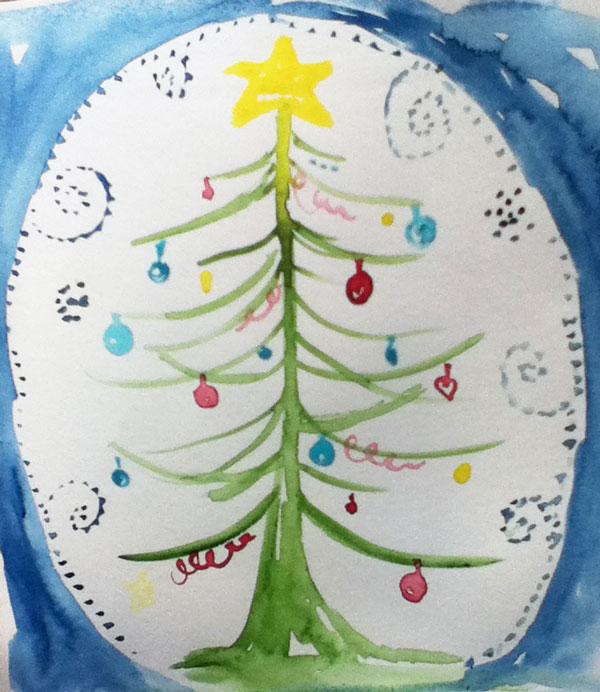 xmas tree watercolor drawing