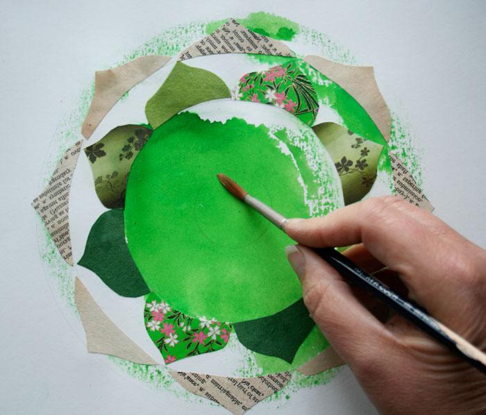 Green heart chakra collage mandala mixed media mandalas