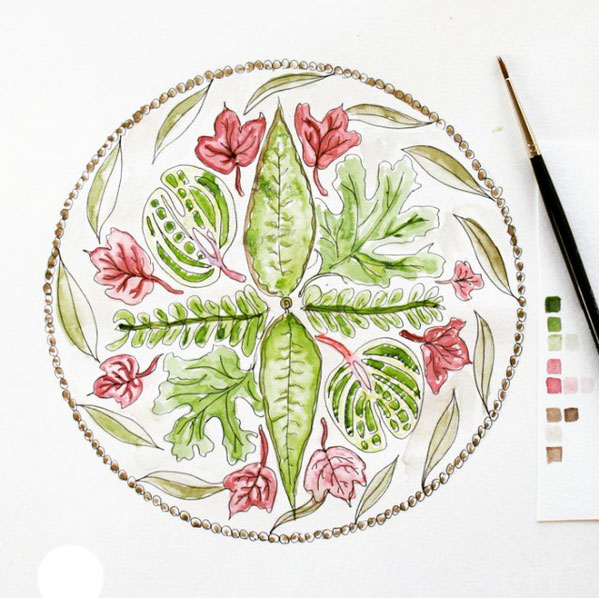 leafy mandala for 52 weeks of nature inspired art