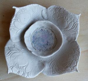 clay lotus mandala mixed media