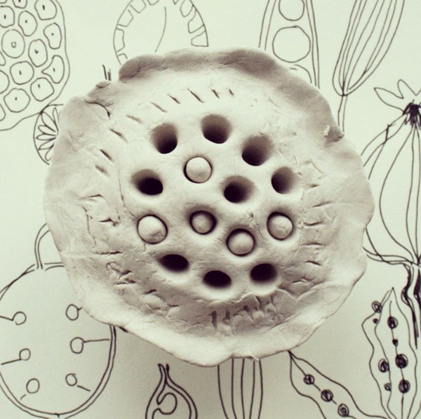 clay lotus seed pod 52 weeks of nature art