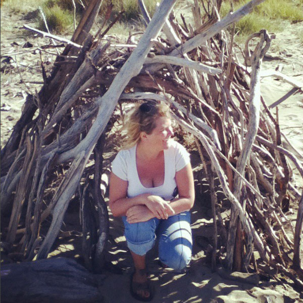 louise & wood house on beach 52 weeks of nature art