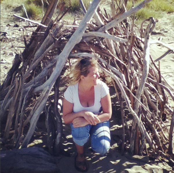 louise & wood house on beach 52 weeks of nature art