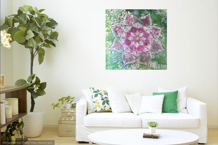 louise gale mixed media mandala painting on the wall