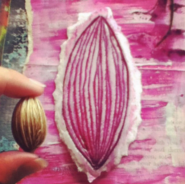 pink seed pod 52 weeks of nature art