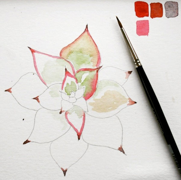 succulent watercolor painting 52 weeks of nature art