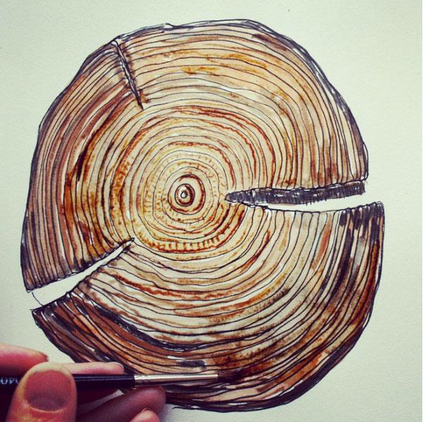 wood grain paint 52 weeks of nature art