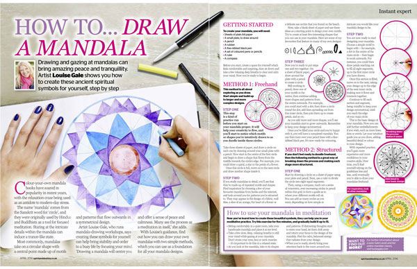 Spirit & destiny magazine how to draw a mandala article