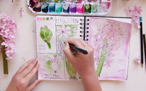 Sketch and paint spring journal